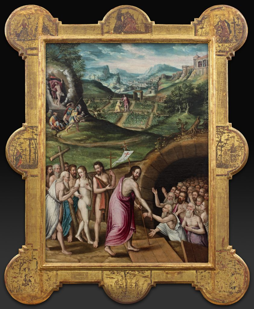 Image of a painting depicting Jesus leading a procession to the opening of a tunnel filled with people. The figure depicting Jesus is wrapped in a draped cloth with his right arm outreached and holding the wrist of a figure in the tunnel