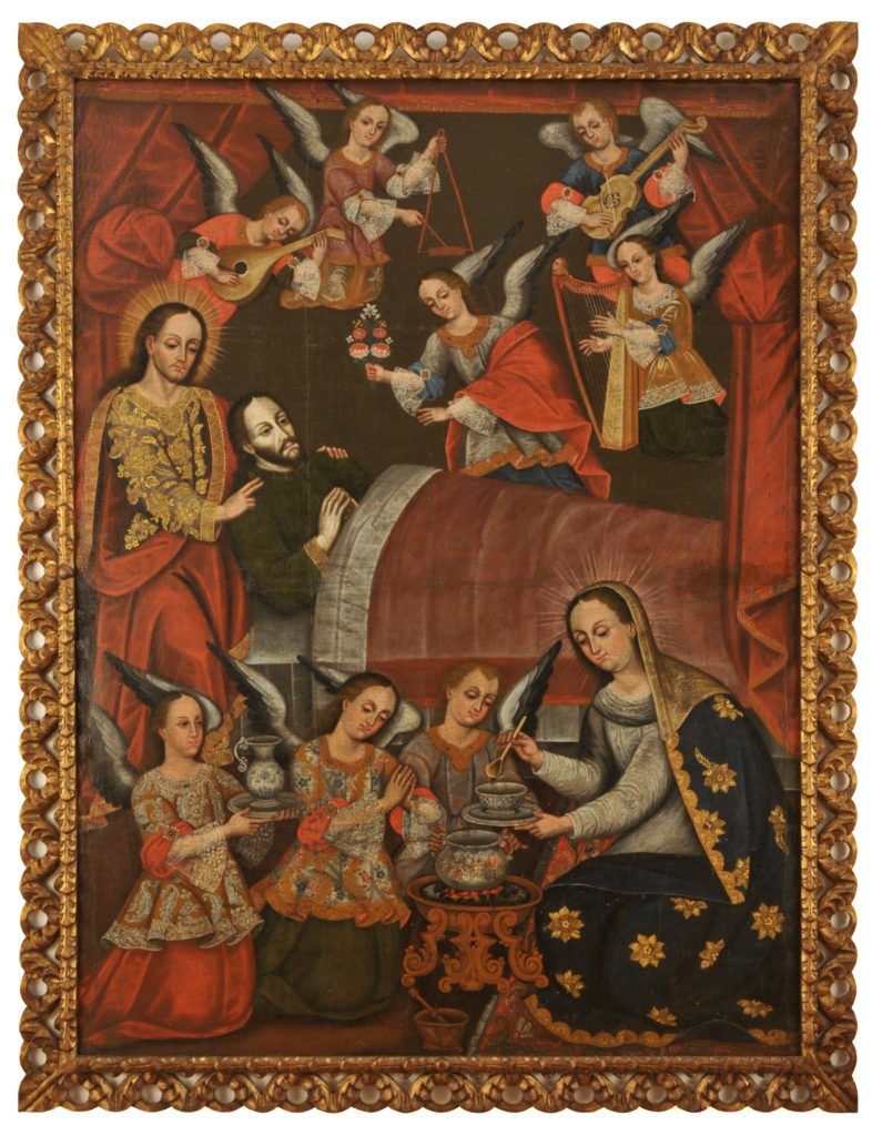 An oil painting depicting Jesus holding Saint Joseph as he lay in bed while angels fly overhead playing instruments. Underneath this scene is another group of angels kneeling with Mary