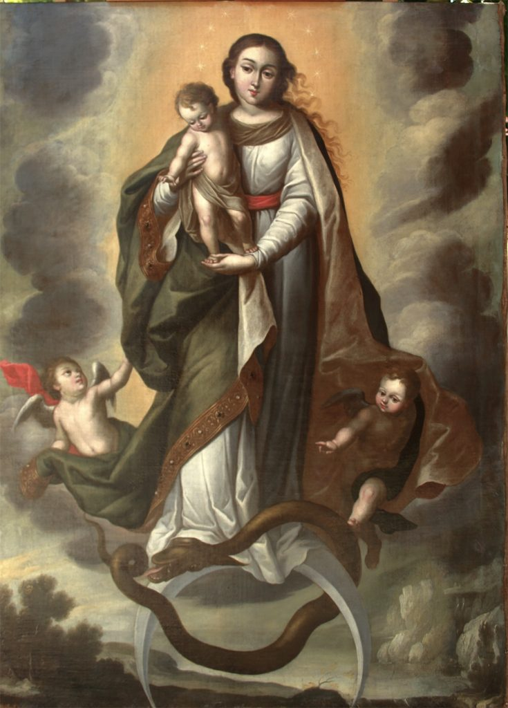 An apocalyptic holy woman holds a baby and floats on a crescent. She steps on a snake while two angels flank her