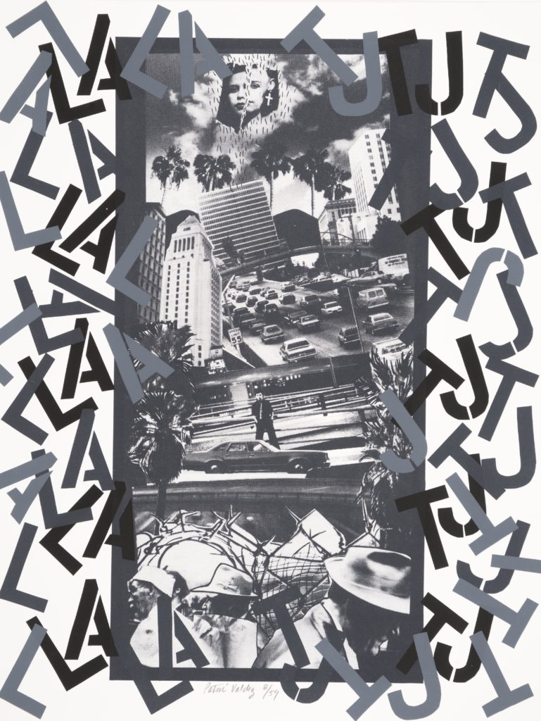 A collage of screenprinted black & white photos of skyscrapers, traffic, palm trees, barbed wire and men in fedora hats. The left side of the collage has the letters LA scattered from top to bottom and the right side has the letter TJ scattered in the same way. At the very top a torn image of a woman's face wearing a large cross earring hovers above it all.
