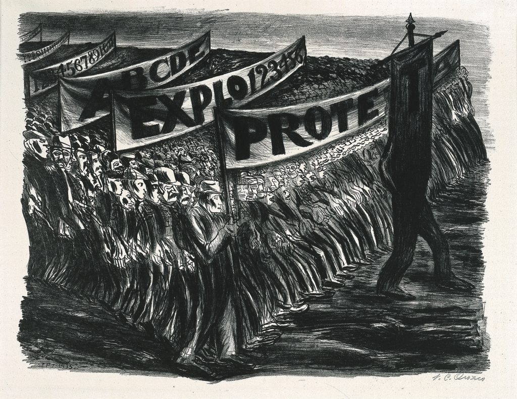 "lithograph of a protest demonstration. there are hundreds of people in attendance sketched with very thick lines. they hold banners that read ""ABC.."" ""??????????"" ""ABCDE"" ""EXPLO123456"" and ""PROTE.."" with a figure leading the group that morphs into a banner reading ""T""."
