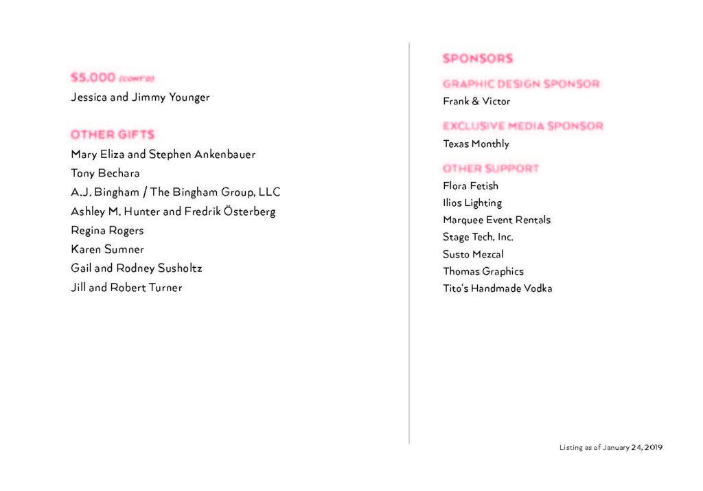 List of sponsors for the Blanton Gala