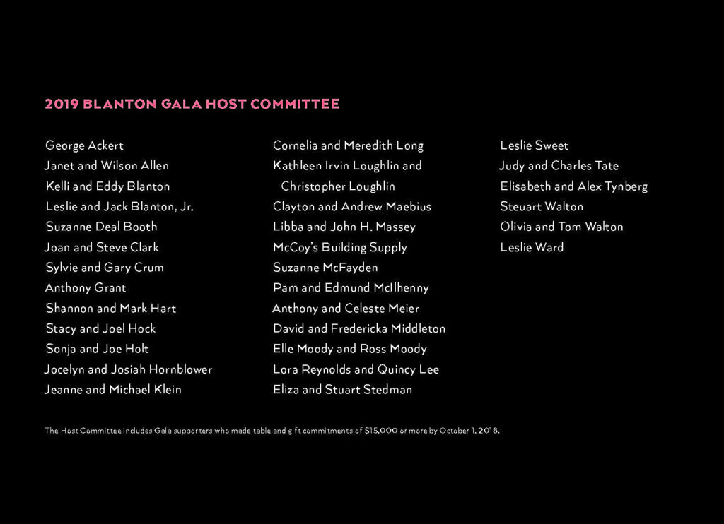 2019 Blanton Gala Page 2 Gala Host Committee