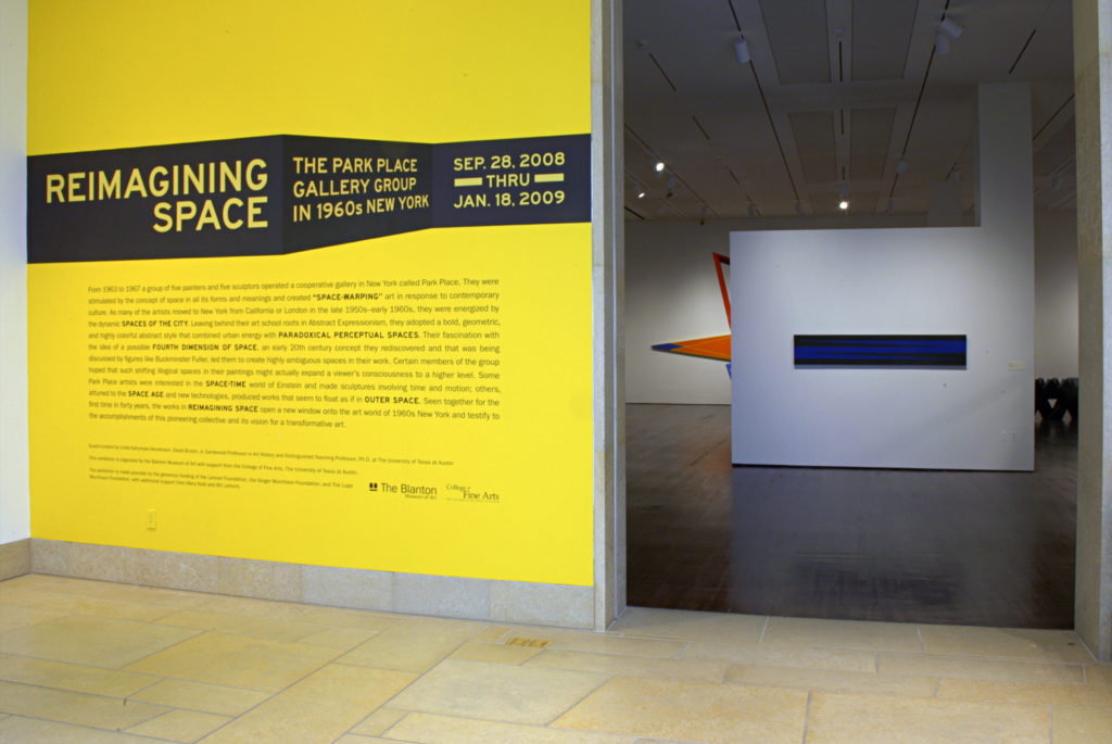 Entrance to the Reimagining Space Exhibition of 1960s abstract works of art at the Blanton Museum of Art,