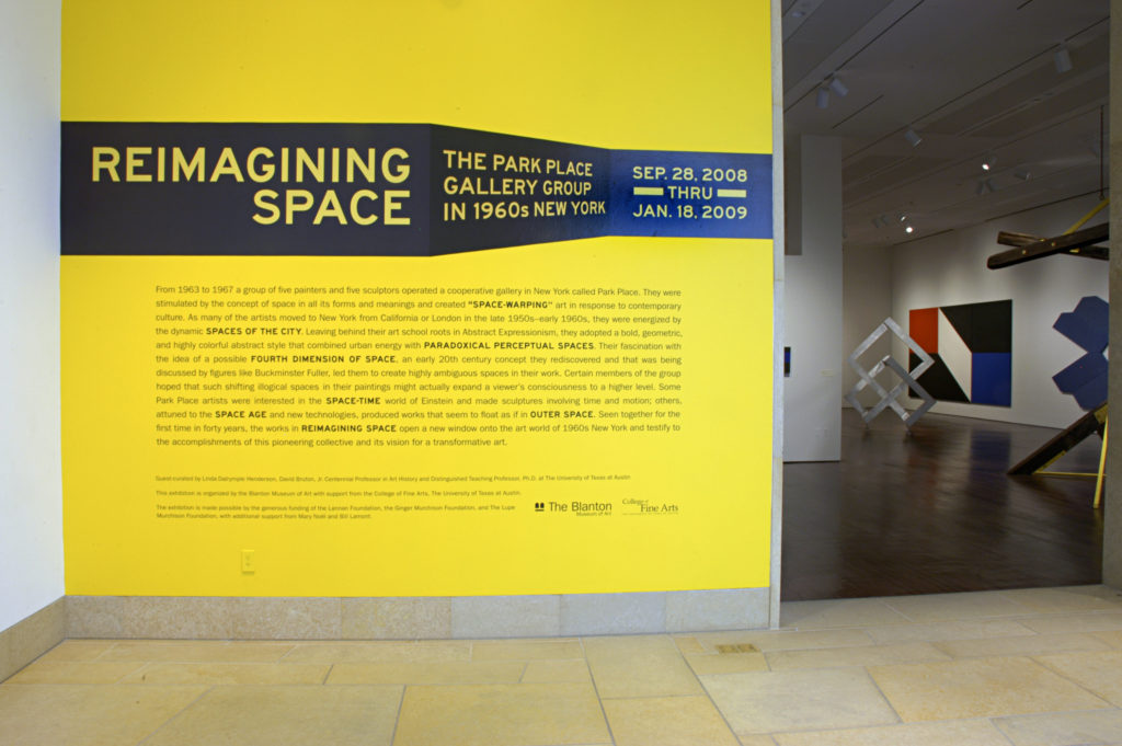 Entrance to the Reimagining Space Exhibition of 1960s abstract works of art at the Blanton Museum of Art