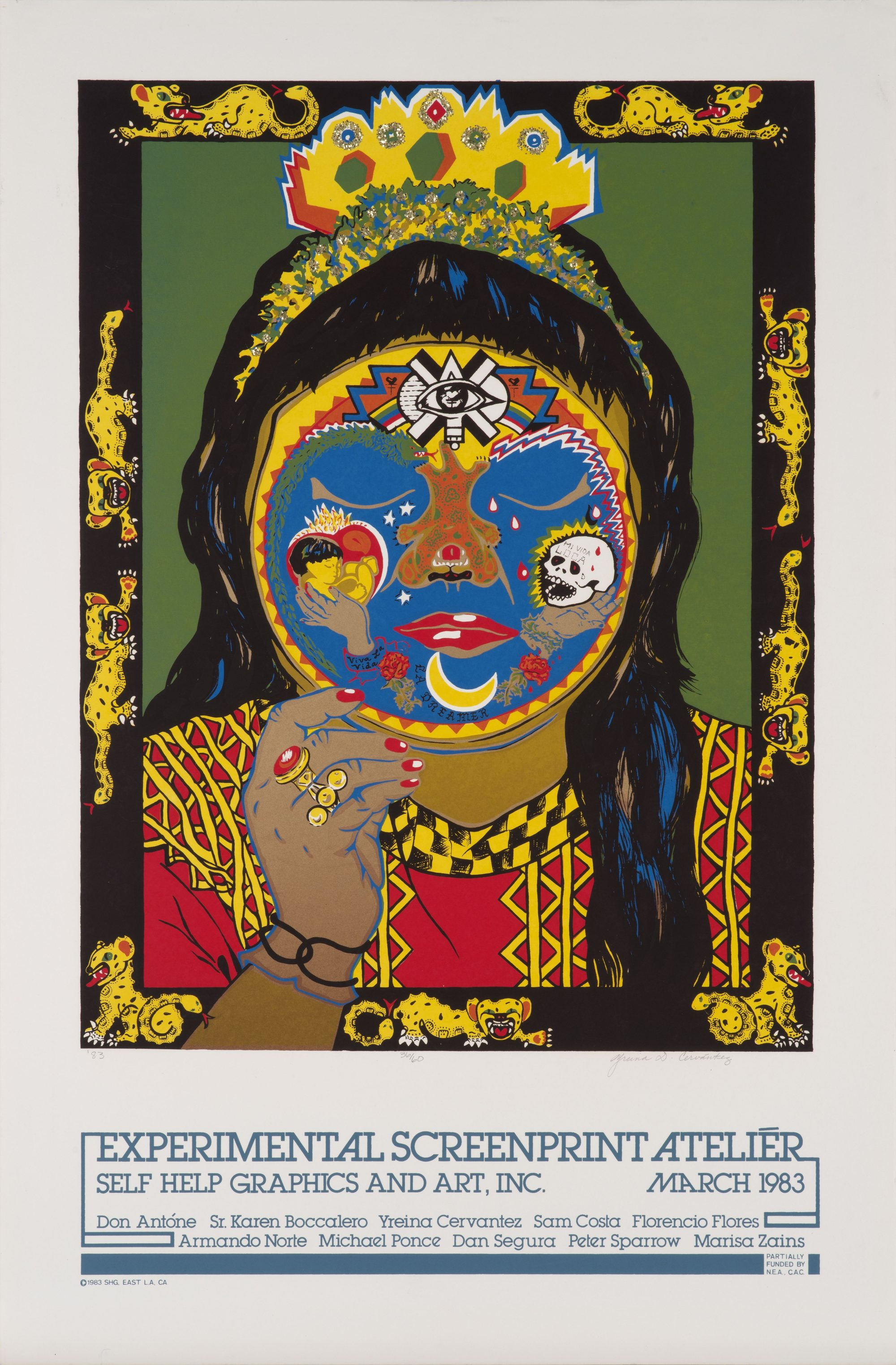 "Yreina D. Cervantez, ""Danza Ocelotl"" Experimental Screenprint Atelier featuring a woman with face paint surrounded by a border of jaguars"