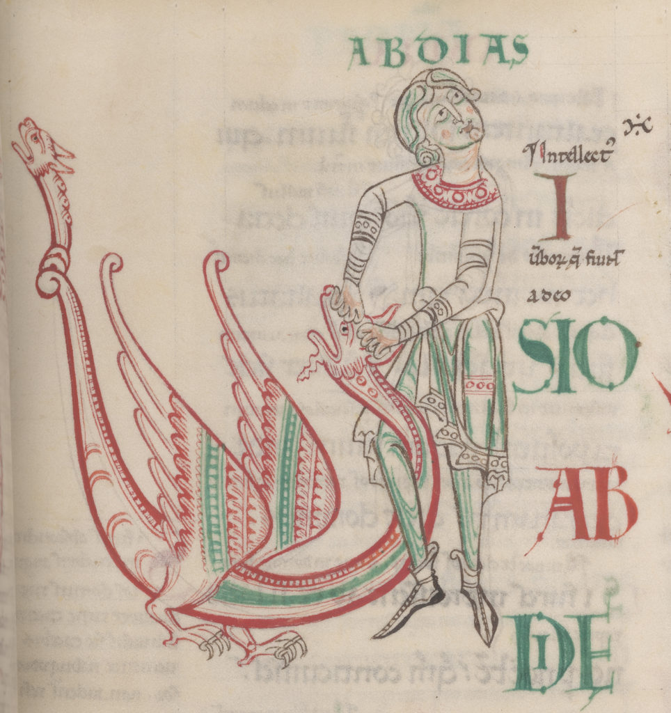 Image of man choking a dragon with his leg as he is standing, and has one leg wrapped around dragons neck while his hands hold the dragons head down