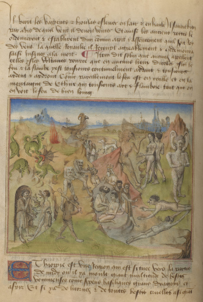A scene depicting many types of wonders. Visible are Dragons, Birds with rams horns, 'blemmyes' human shaped people, but without heads. Instead their face is their chest. There are also creatures called 'panotti,' who are humans with amazingly large ears, almost like elephants.