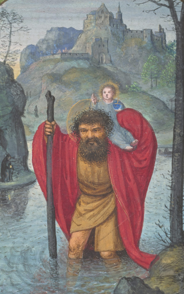 The image shows the giant Christopher of Lycia wading through water struggling to carry the infant Christ, who holds an orb representing the weight of the world.
