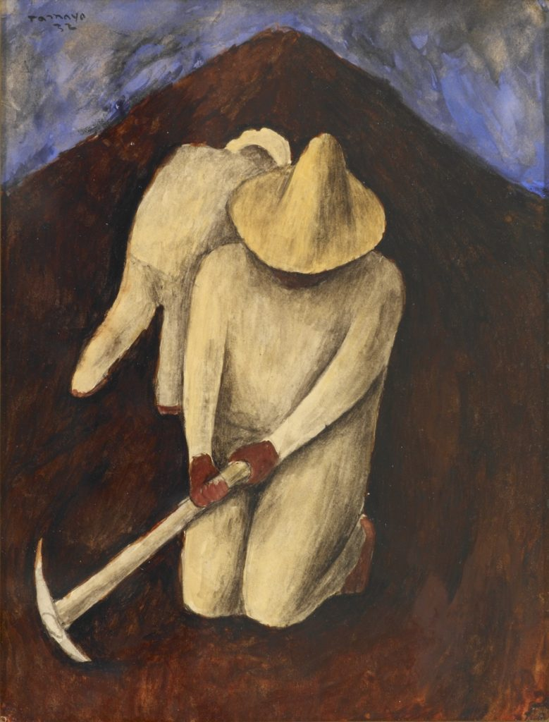 Two figures dressed in matching white outfits and hats. The foreground figure is kneeling and holding an axe pick.