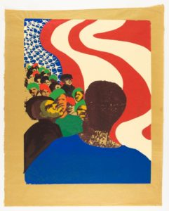 In a color screenprint on gold paper, black Americans are lead by a prominent black figure who takes up nearly half of the page; the background is an American flag with stars shaped like Ku Klux Klan members