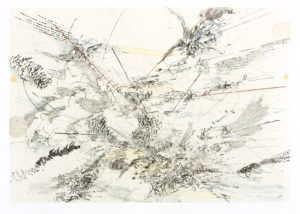 A large-scale, semi-abstract print with lots of scratchy black lines, cloud-like characters, and some swathes of light color