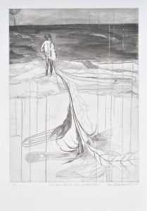 In a vertical-format black-and-white print, a girl looks out at the ocean; on her back is a knapsack with leaves and feathers that drag behind her and take up two-thirds of the composition