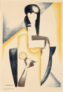 cubist form of a woman's upper body composed of blue, yellow, and black shapes
