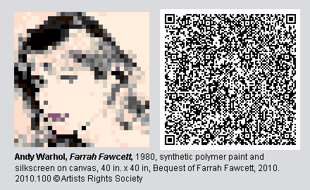 QR Code and virtual image of Farrah Fawcett by Andy Warhol.