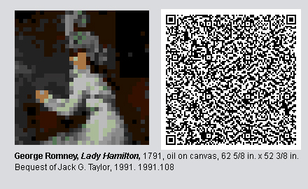 QR Code and pixelated image of Lady Hamilton by George Romney