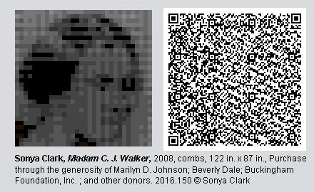 "QR Code and pixelated image of ""Madam C.J. Walker"" by Sonya Clark"