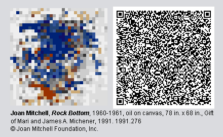 """QR Code and pixelated image of """"Rock Bottom"""" by Joan Mitchell."""
