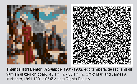 "QR Code and pixelated image of ""Romance"" by Thomas Hart Benton"