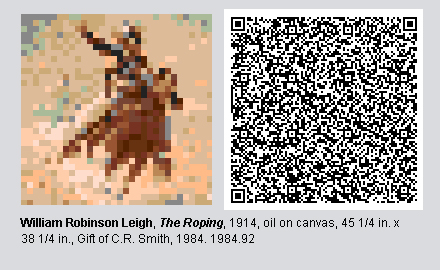 """QR code and pixelated image of """"The Roping"""" by William Robinson Leigh"""
