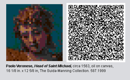 """QR Code and pixelated image of """"Head of Saint Michael"""" by Paolo Veronese."""