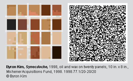 """QR code and pixelated image of """"Synecdoche"""" by Byron Kim."""