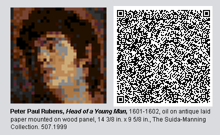 """QR Code and pixelated image of """"Head of a Young Man"""" by Peter Paul Rubens."""