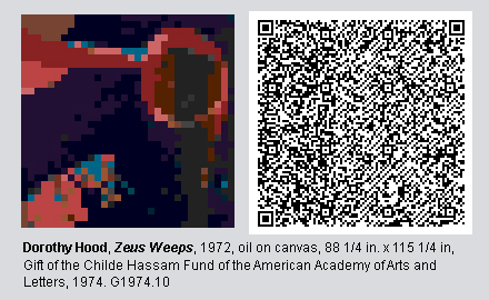 """QR Code and pixelated image of """"Zeus Weeps"""" by Dorothy Hood"""
