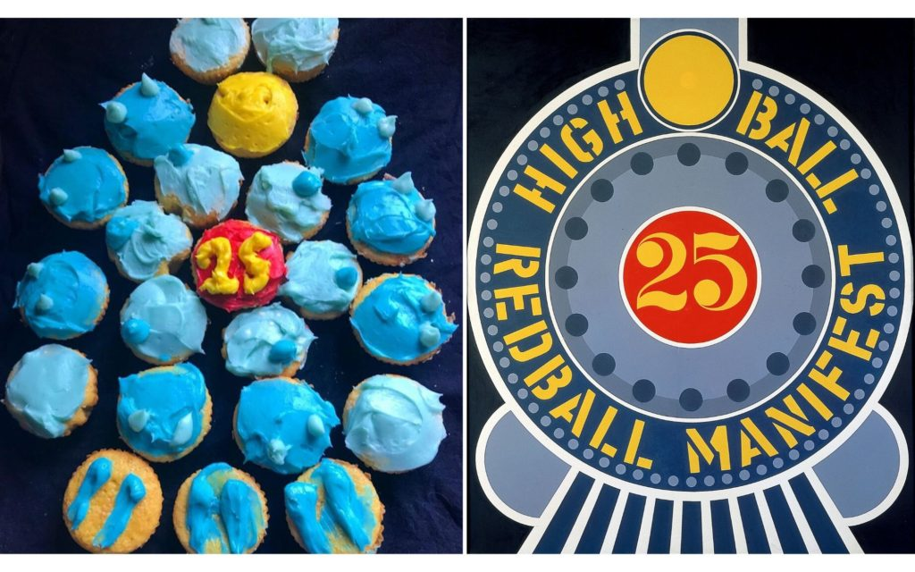 "Side by side images, the left image shows cupcakes arranged in a circular shape made to look like the right image which is Robert Indiana's painting ""Highball on the Red Ball Manifest"" a stylized painting of the front of a train"