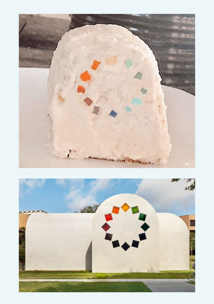"The top image shows an arch shaped cake frosted and decorated to look like the bottom image which is of the Tumbling Square window of Ellsworth Kelly's ""Austin"" featuring small squares of different colored glass in a circle"