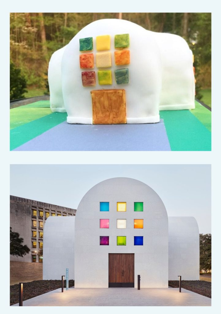 "The top image shows a cake decorated to look like the bottom image of Ellsworth Kelly's ""Austin"" a white arched building featuring the Color Grid window, a three by three grid shape made of small squares of different color glass"