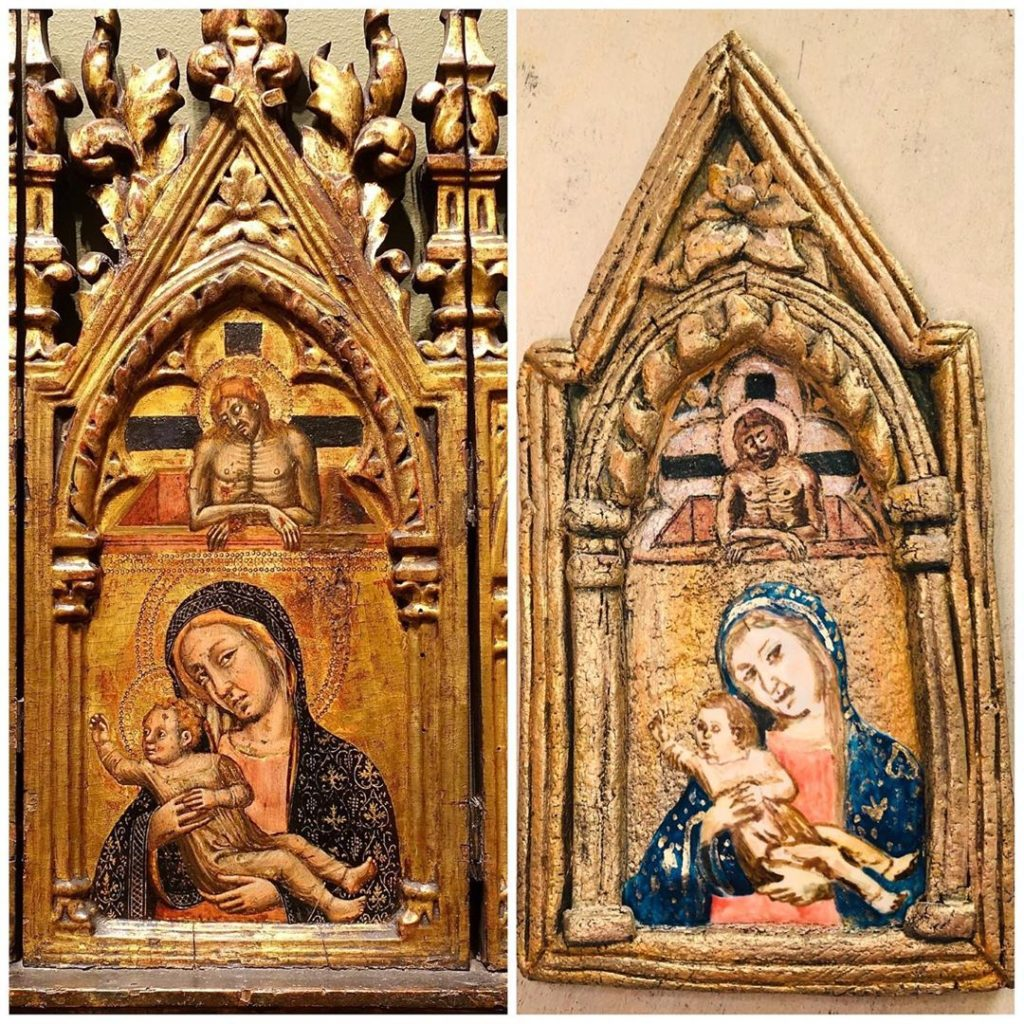 "Side by side images, the left image shows Simone dei Crocifissi's ""Triptych"" a painting depicting Mary holding the infant Jesus while adult Jesus watches from above framed in a highly ornate arched gold frame, the right image is a cookie shaped and decorated to look just like the aforementioned painting"