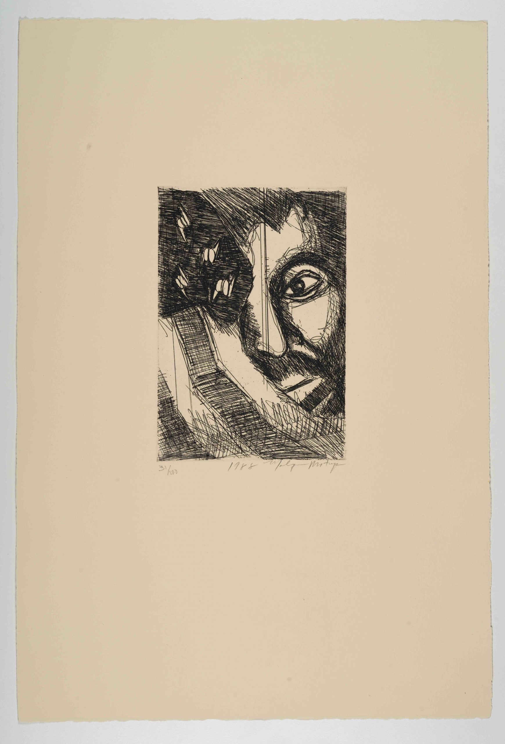 Malaquías Montoya, Untitled [Sin título], from The New Immigration series, 1988, etching, 22 x 14 7/8 in. (55.9 x 37.8 cm), Half of a face behind a modified version of the american flag where instead of stars there is barbed wire, Blanton Museum of Art, The University of Texas at Austin, Gift of Gilberto Cardenas, 2017