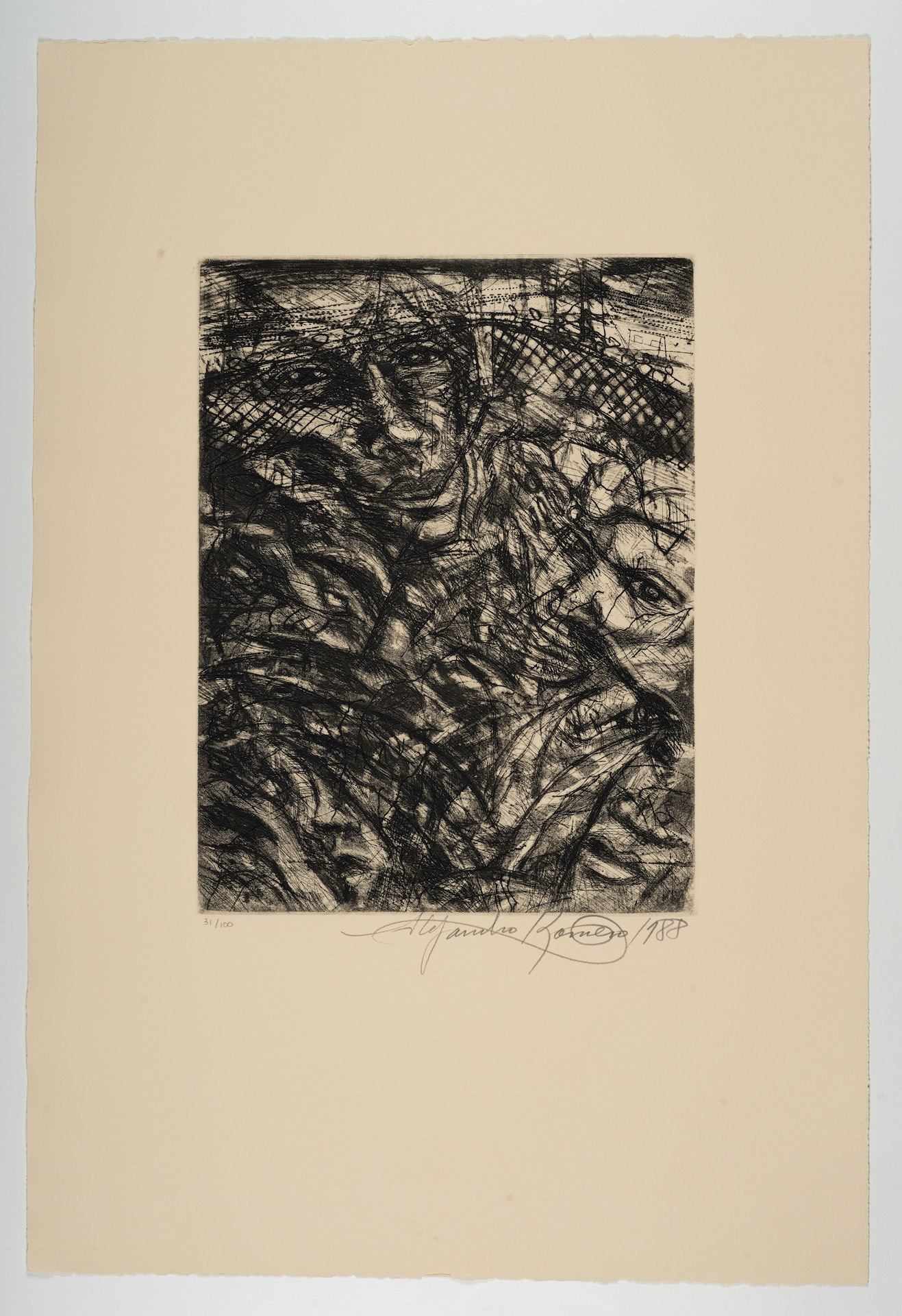 Alejandro Romero, Magueyes II [Magueys II], from The New Immigration series, 1988, aquatint with etching, 22 1/16 x 14 15/16 in. (56 x 37.9 cm), Faces and figures overlayed with imagery of barbed wire in the background, Blanton Museum of Art, The University of Texas at Austin, Gift of Gilberto Cardenas, 2017