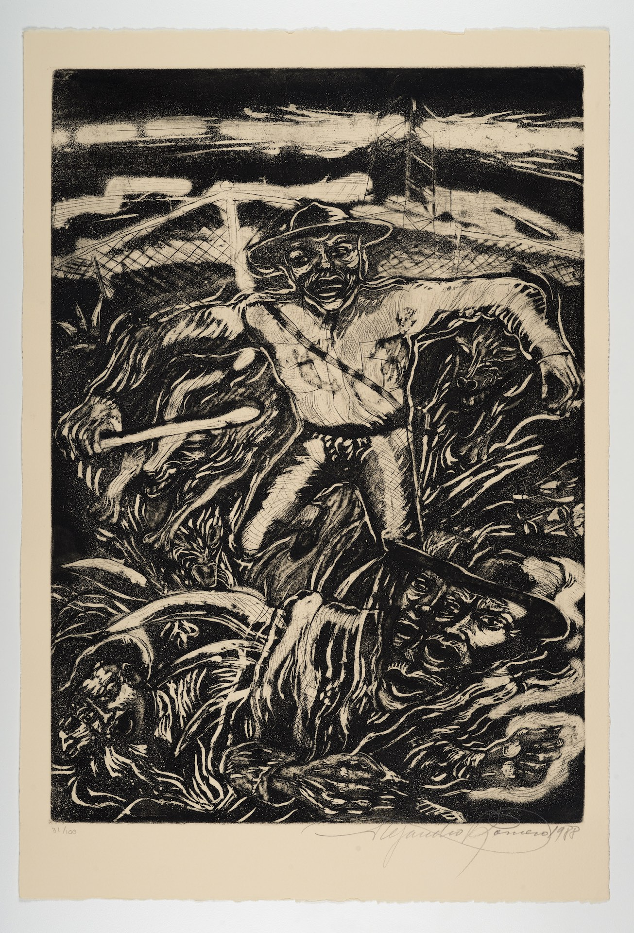 Alejandro Romero, Magueyes [Magueys], from The New Immigration series, 1988, aquatint with etching and roulette, 22 1/16 x 14 15/16 in. (56 x 37.9 cm), featuring a figure who appears to be some type of border authority accompanied by two dogs confronting two figures hidden in the darkness, Blanton Museum of Art, The University of Texas at Austin, Gift of Gilberto Cardenas, 2017