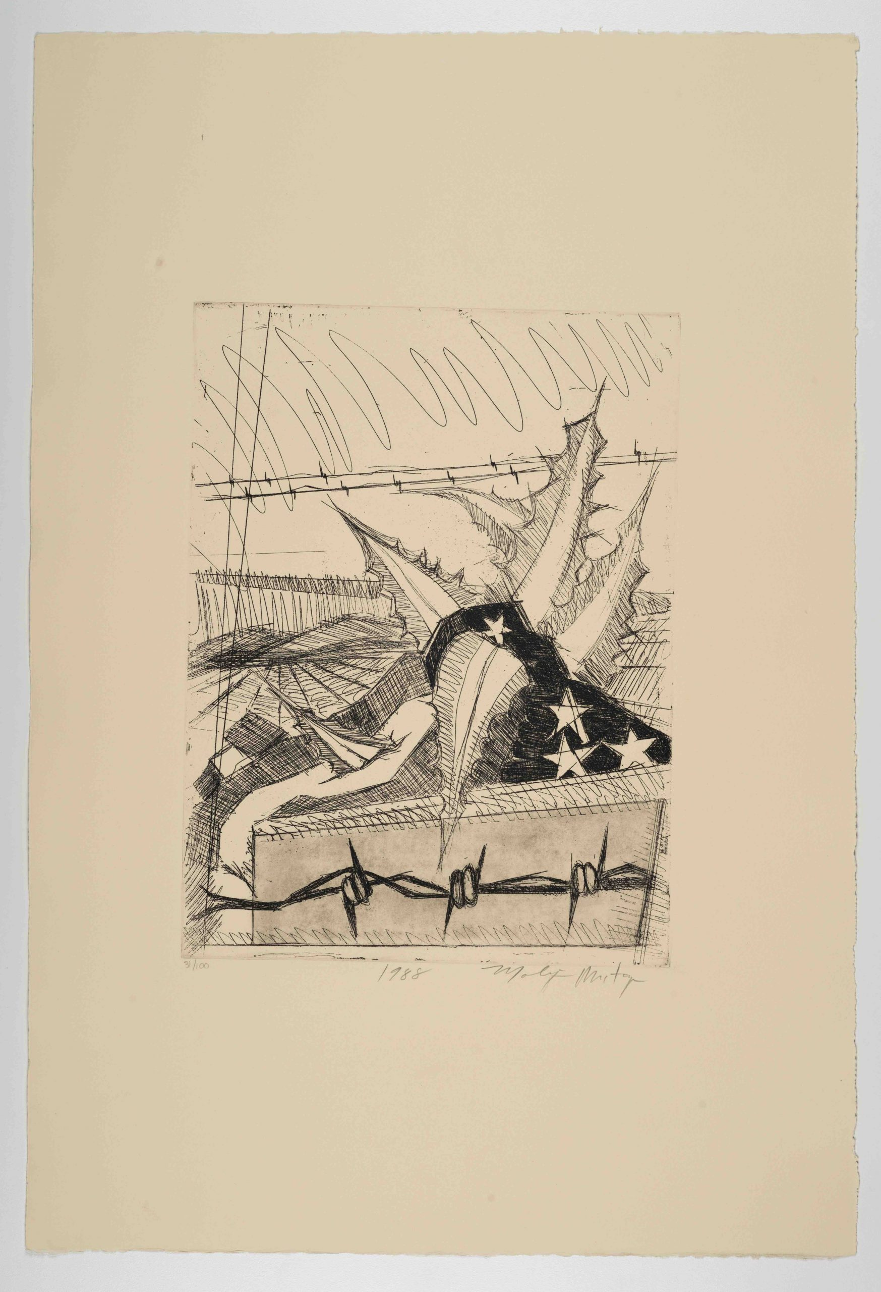 Malaquías Montoya, Untitled [Sin título], from The New Immigration series, 1988, etching, 22 x 15 5/16 in. (55.9 x 38.9 cm), featuring a spiked plant piercing an American flag with barbed wire, Blanton Museum of Art, The University of Texas at Austin, Gift of Gilberto Cardenas, 2017