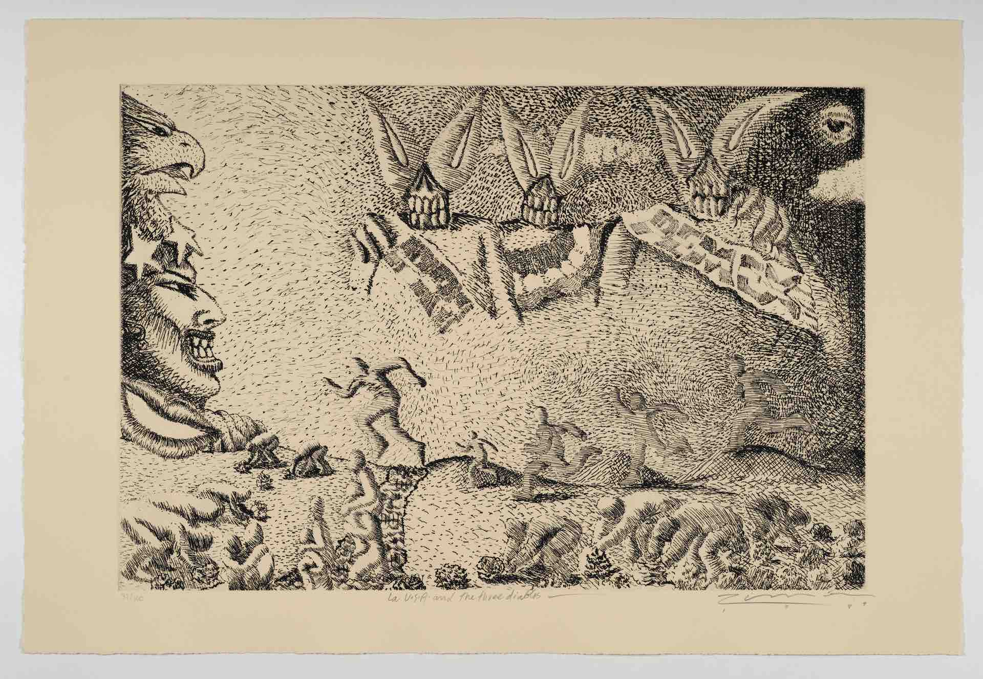 Léo Limőn, La U.S.A. and the three diablos [The EE.UU. y los tres devils], from The New Immigration series, 1988, etching, 14 15/16 x 22 1/16 in. (37.9 x 56.1 cm), Featuring figures running toward the left while some bend over to pick plants and three devils float in the sky, Blanton Museum of Art, The University of Texas at Austin, Gift of Gilberto Cardenas, 2017