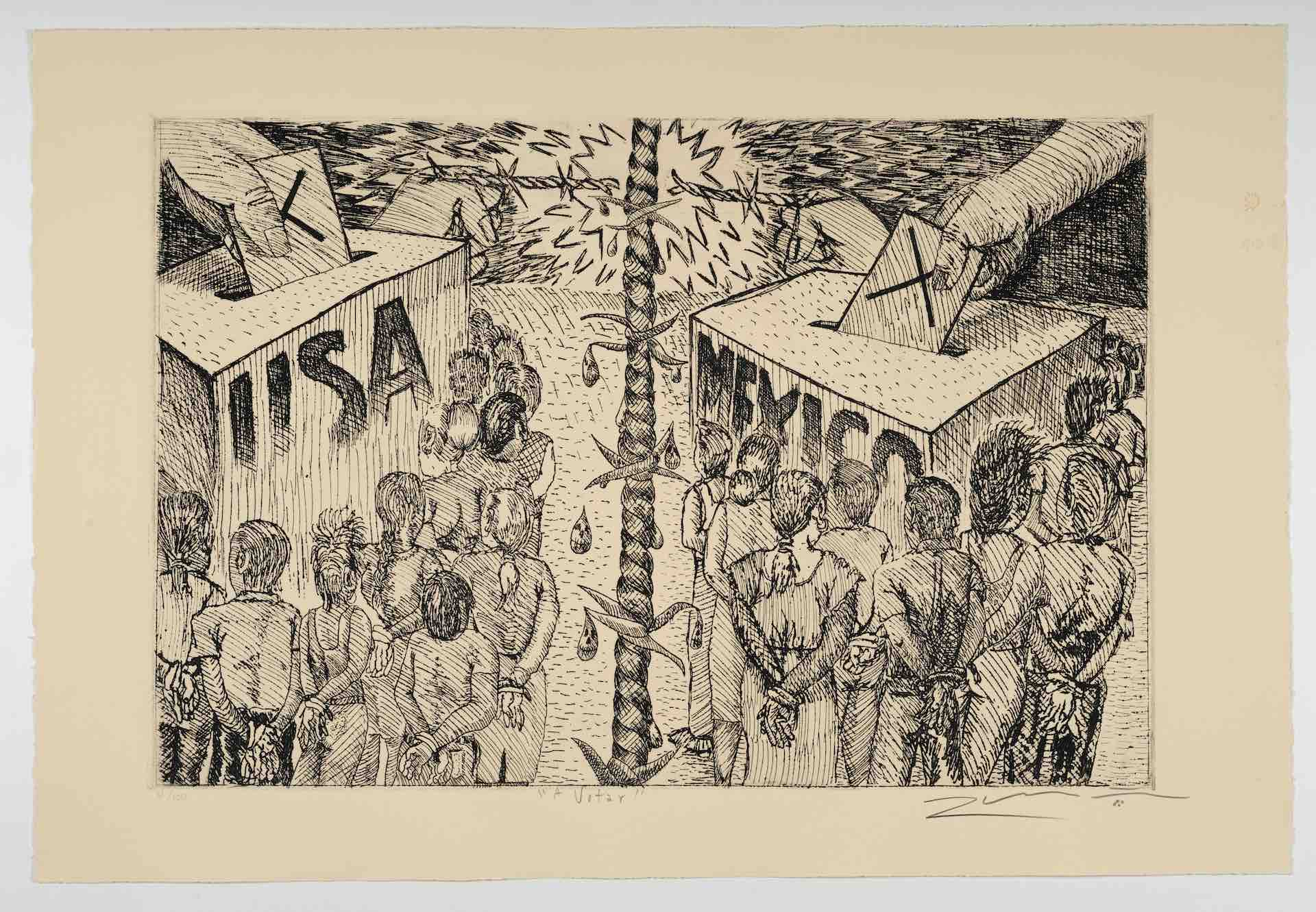 Léo Limőn, A Votar [To vote], from The New Immigration series, 1988, etching, 14 15/16 x 22 in. (37.9 x 55.9 cm), Featuring two groups of people lined up to vote separated by barbed wire, one ballot box says USA the other says Mexico, Blanton Museum of Art, The University of Texas at Austin, Gift of Gilberto Cardenas, 2017
