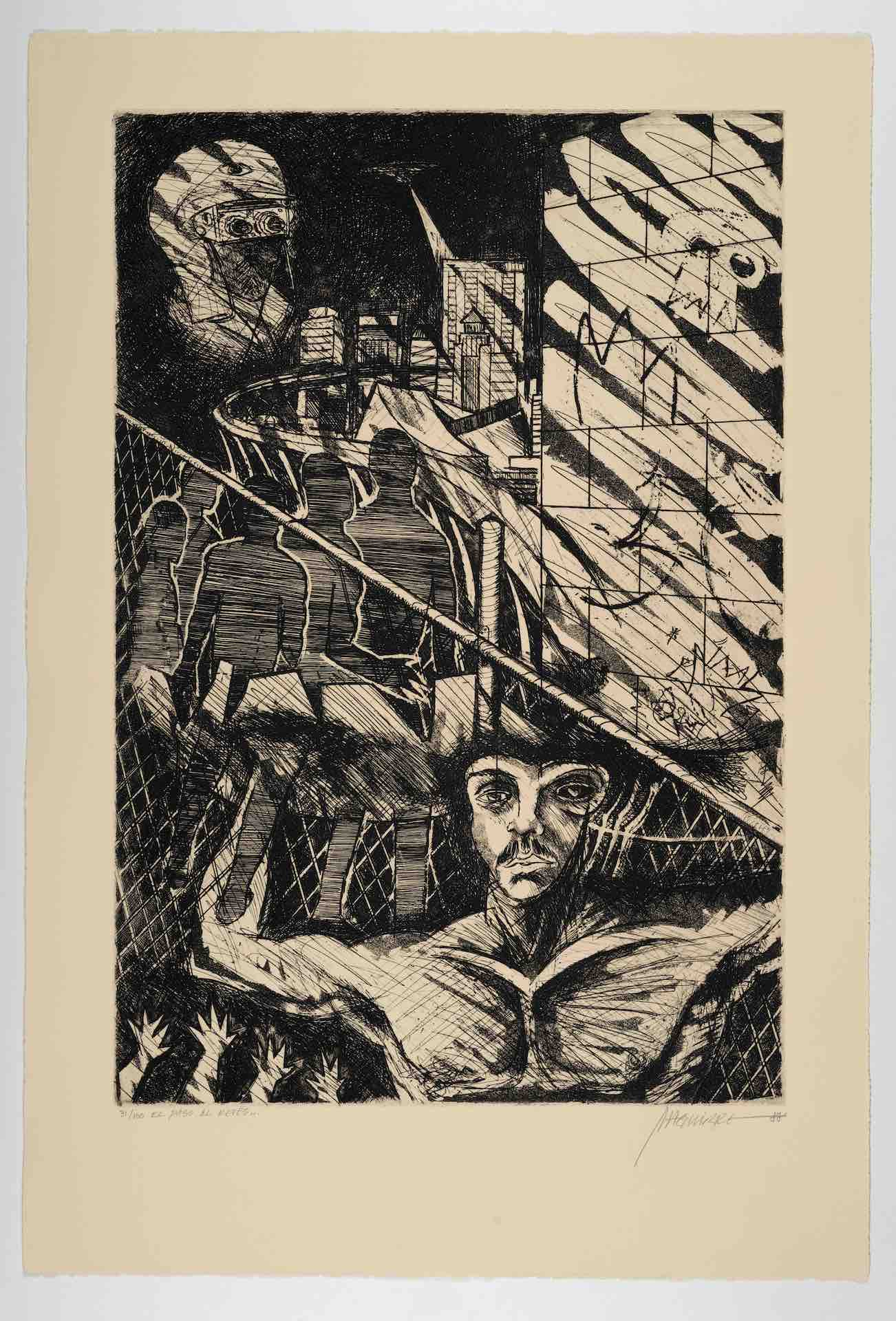 José Antonio Aguirre, El Paso, al revés [El Paso/The Step, Backwards], from The New Immigration series, 1988, etching with aquatint, 22 1/16 x 14 15/16 in. (56 x 38 cm), Blanton Museum of Art, The University of Texas at Austin, Gift of Gilberto Cardenas, 2017