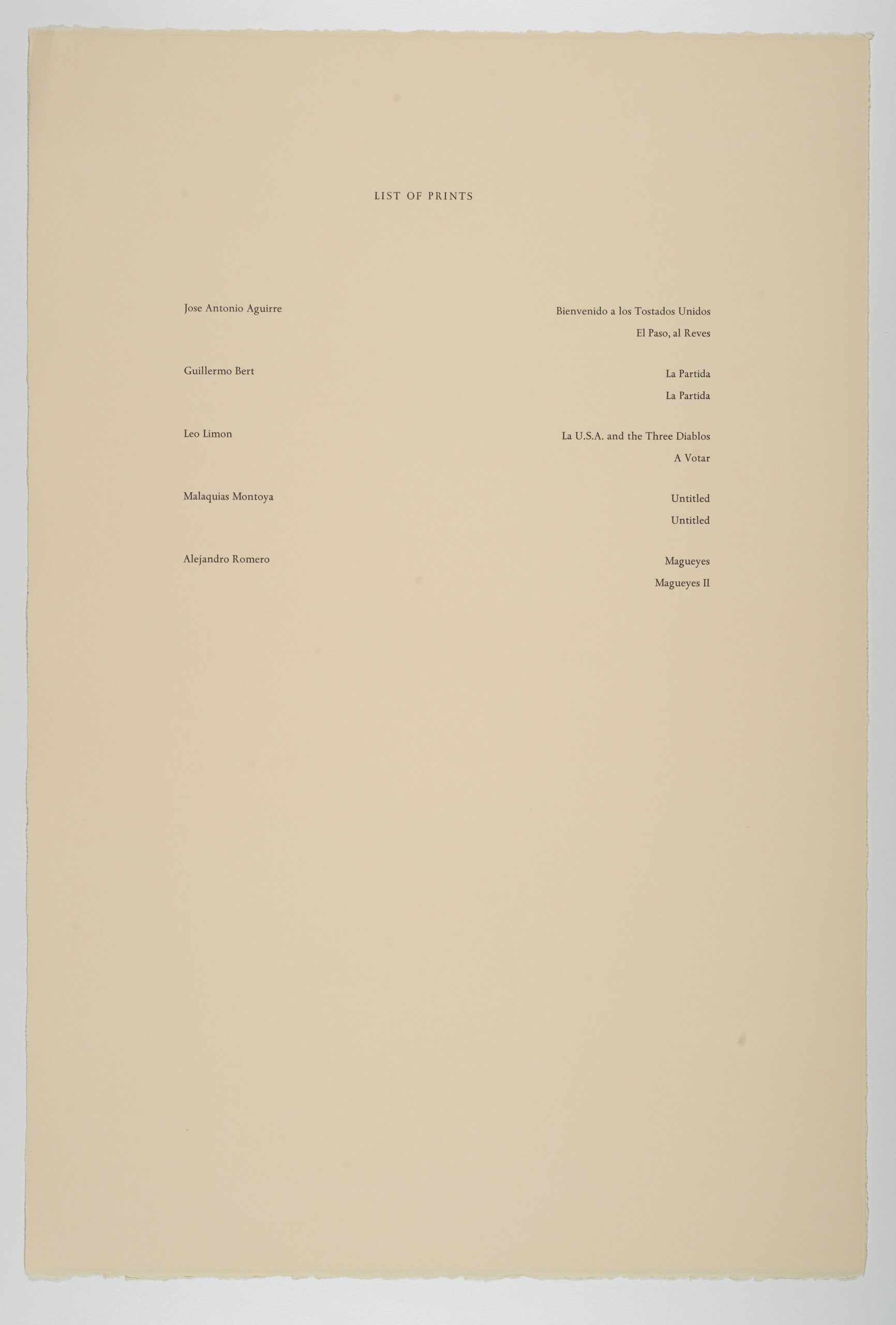 List of prints with artist names and titles, The New Immigration series, 1988