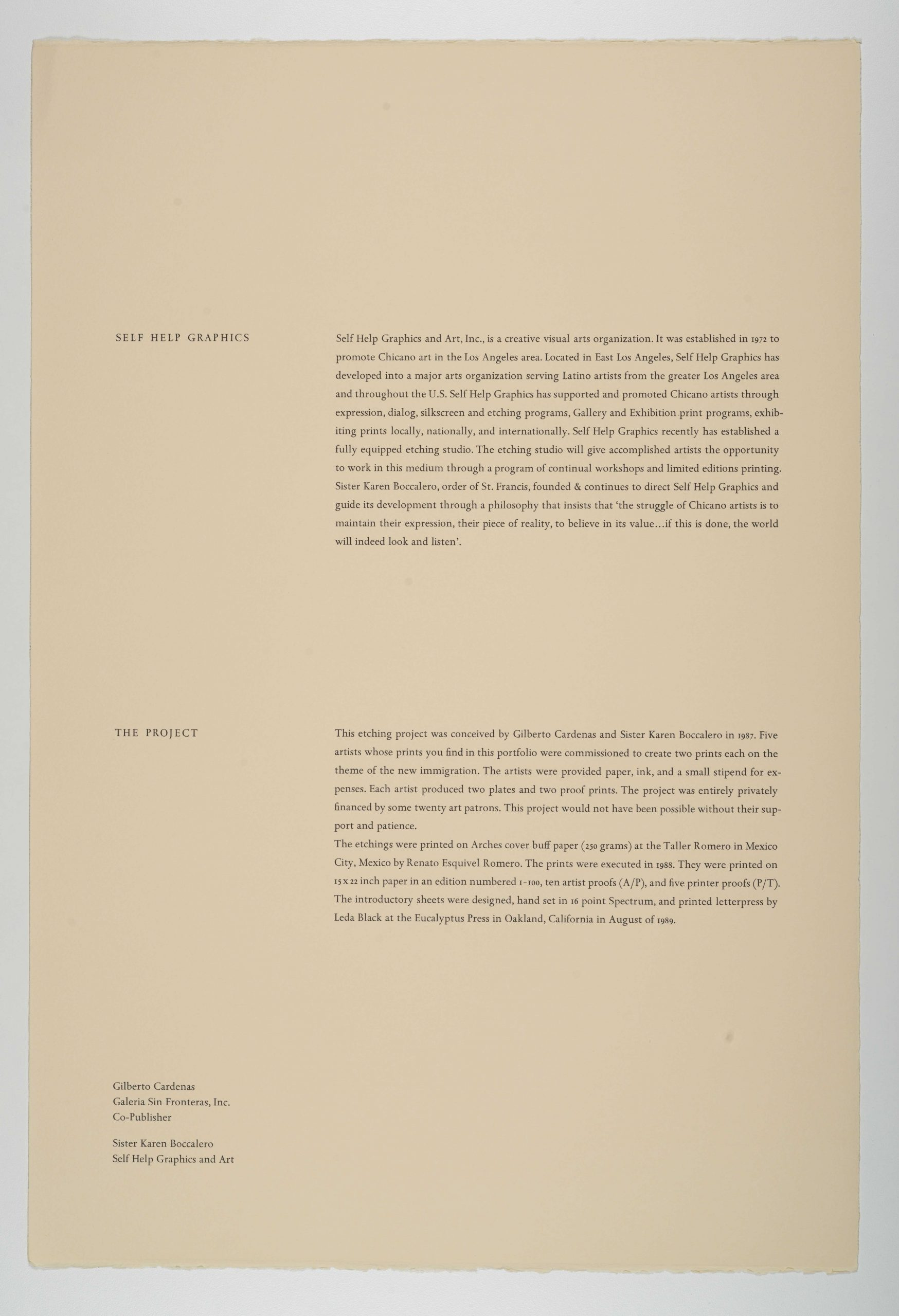 Self Help Graphics description, The New Immigration series, 1988