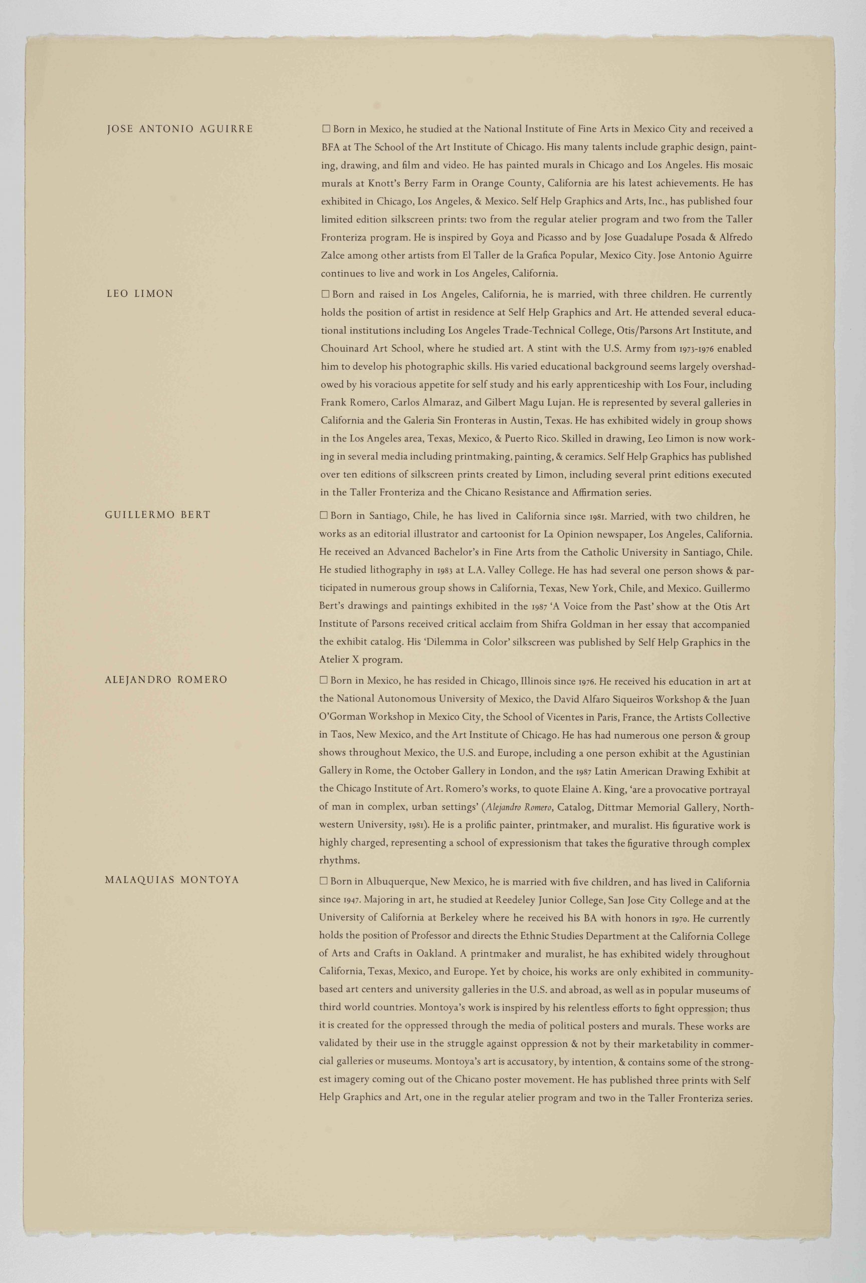 Descriptions of multiple artists, The New Immigration series, 1988