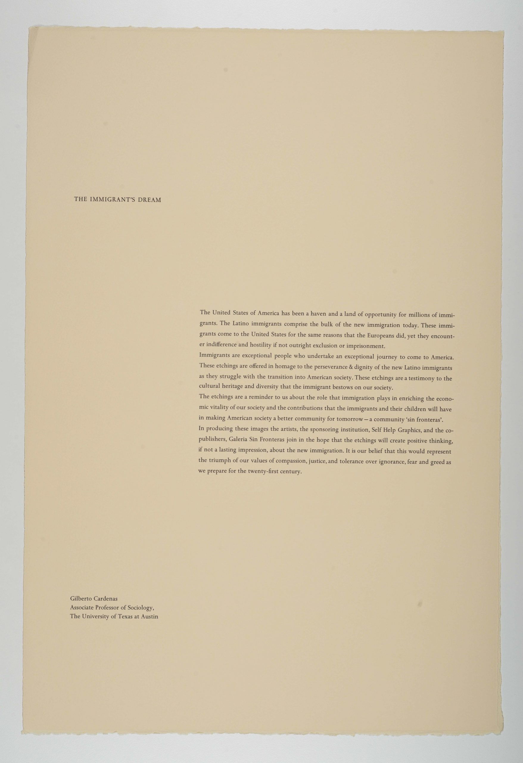 The Immigrant's Dream, The New Immigration series, 1988