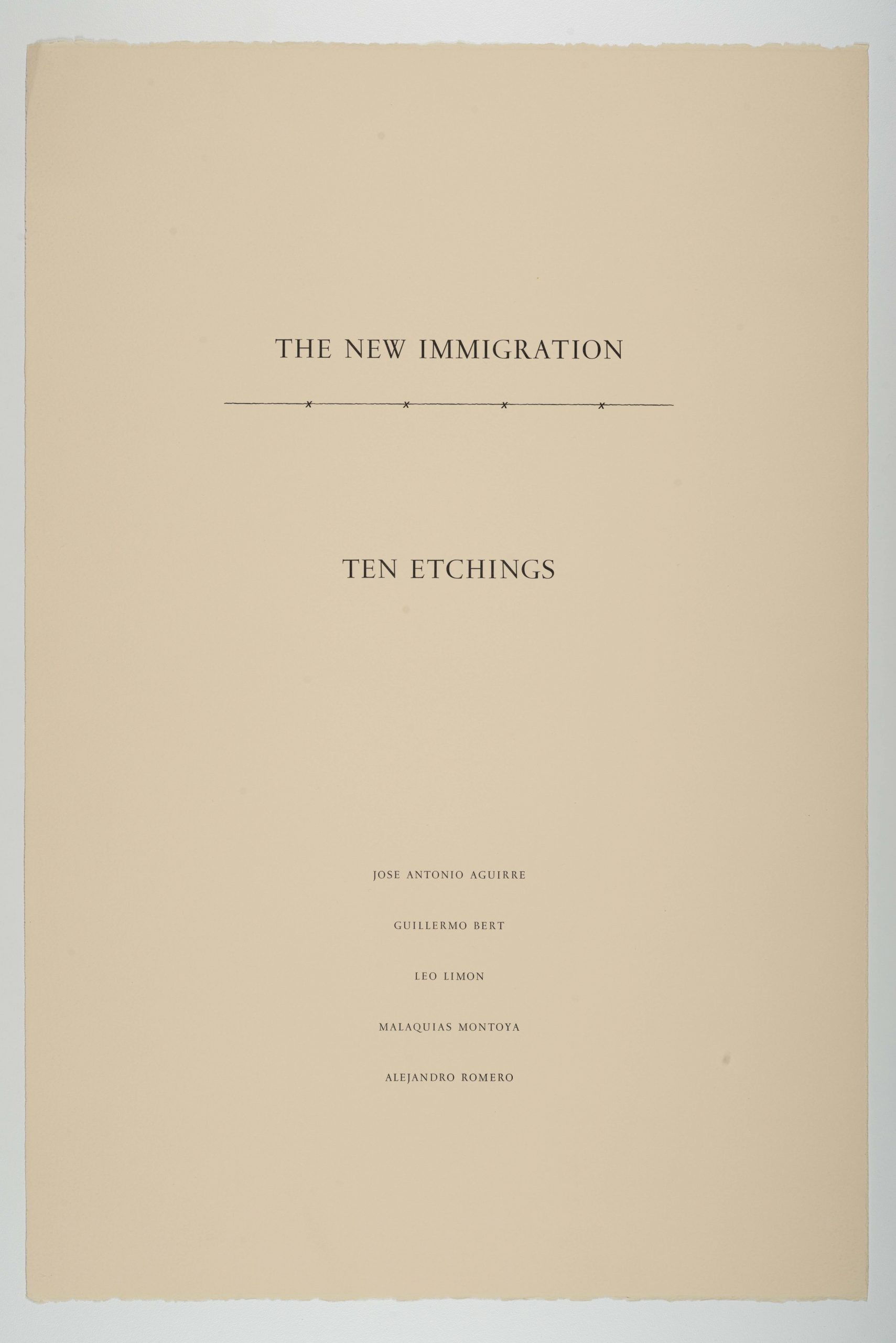 The New Immigration series, 1988