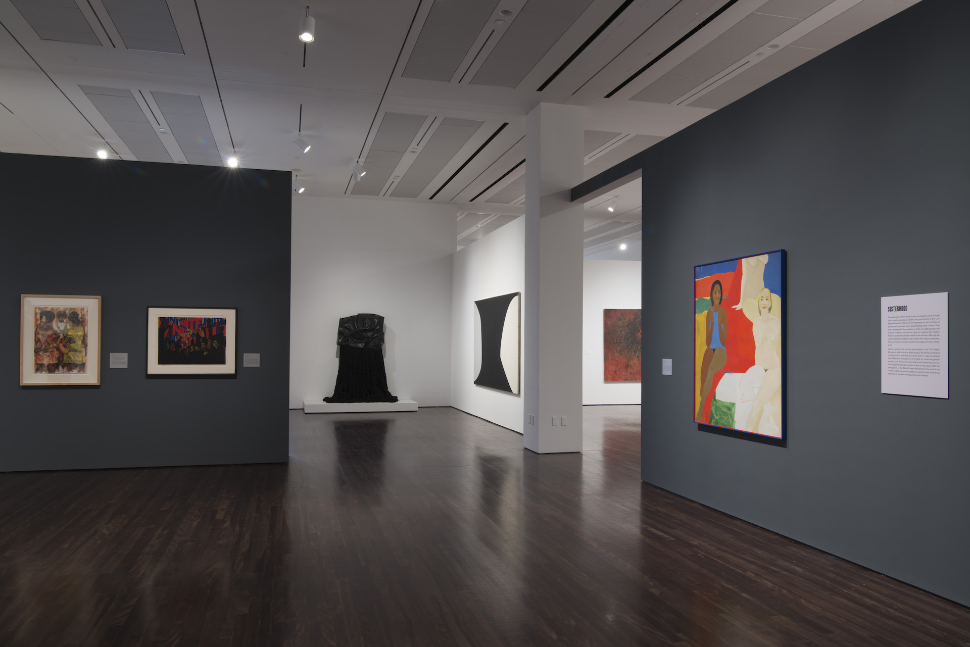 """Installation view of """"Witness: Art and Civil Rights in the Sixties"""" at theBlanton, several artworks are hung on the gallery walls"""
