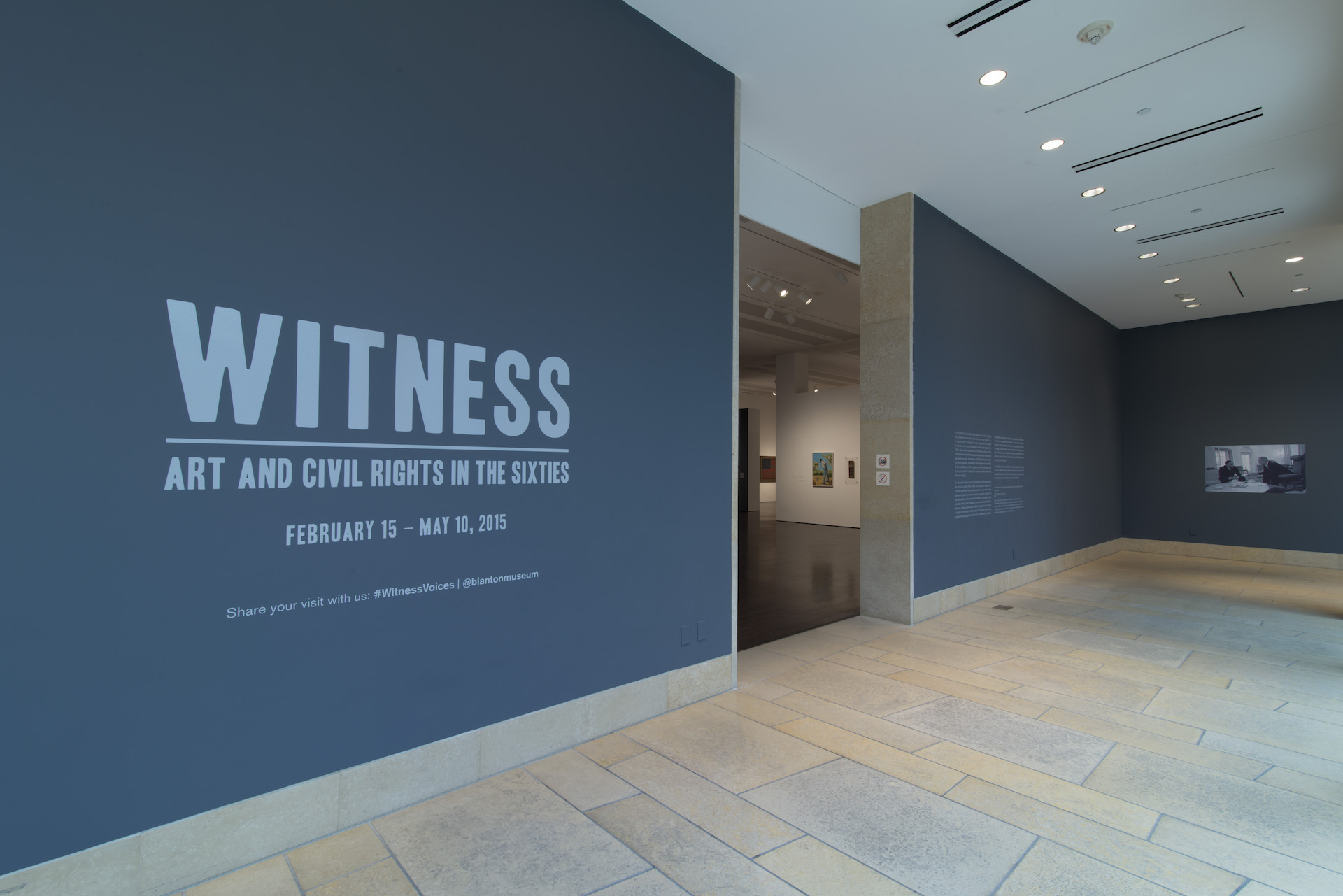 """Outside of the gallery where the """"Witness: Art and Civil Rights in the Sixties"""" exhibition is being shown at the Blanton"""