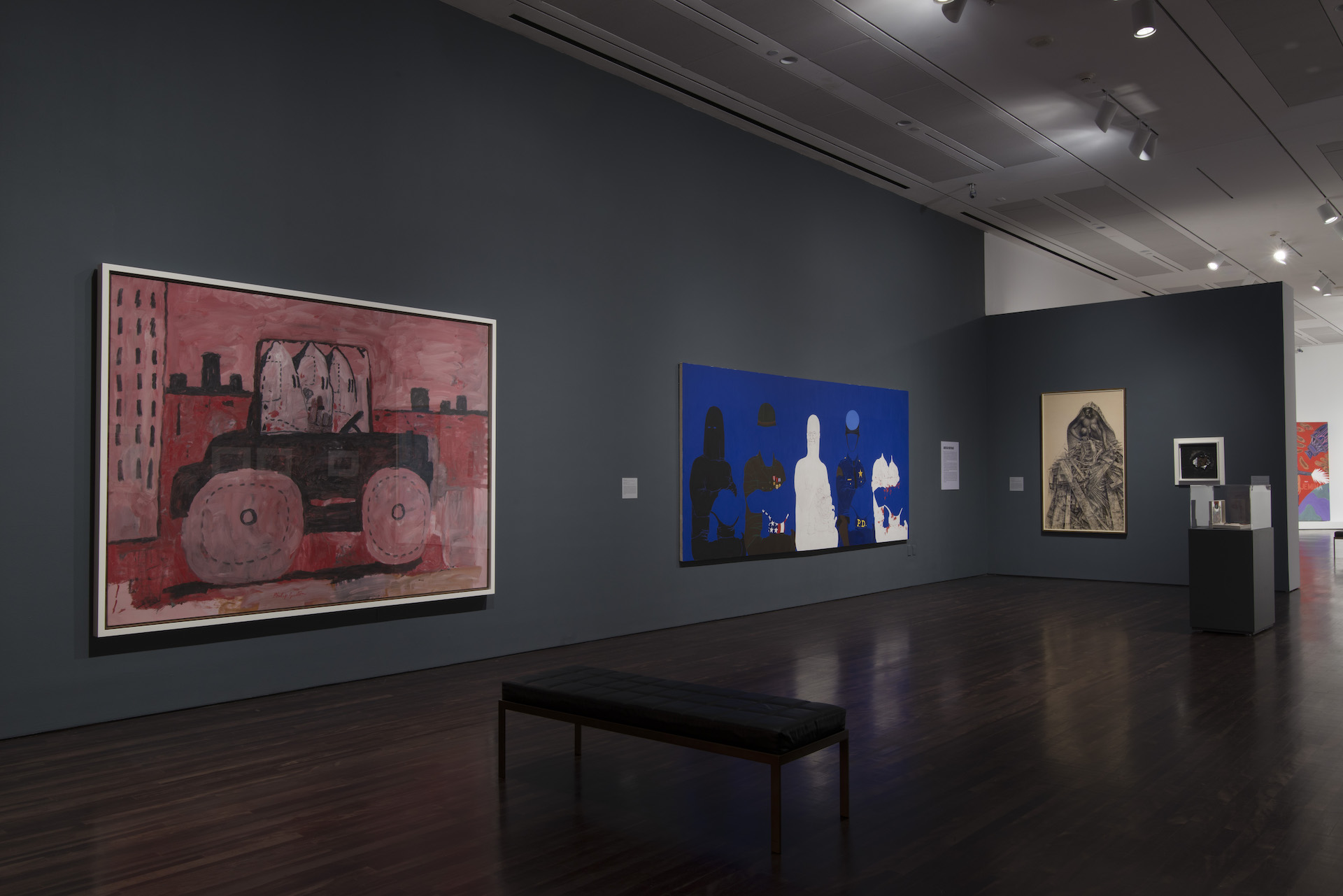 """Installation view of """"Witness: Art and Civil Rights in the Sixties"""" at theBlanton Museum of Art, The University of Texas at Austin, February 15–May 10, 2015. Multiple works of art are on display"""