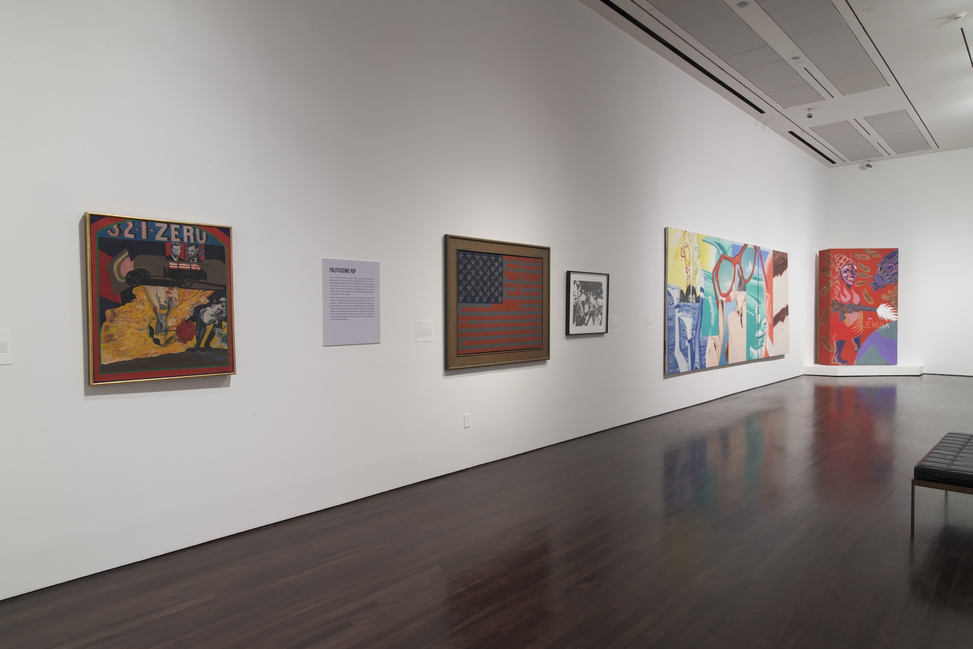 """Installation view of """"Witness: Art and Civil Rights in the Sixties"""" at theBlanton Museum of Art. 5 works of art are on display."""