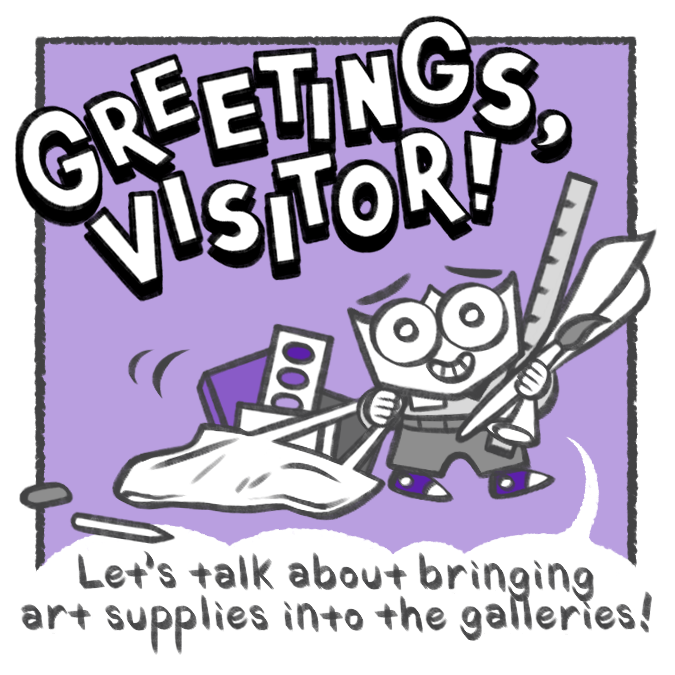 "First panel of a comic titled ""Greetings, Visitor!"" that features a small character holds a ruler, a paint brush, and some paper while dragging a tote bag filled with more supplies"