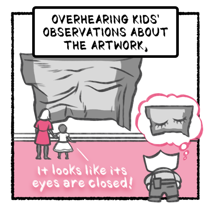 "Second panel of a comic titled ""Greetings, Visitor!"" featuring a small character with her back to the viewer observing a patron and their child talking about an artwork"